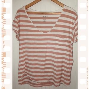 American Eagle Peach Striped Favorite Tee